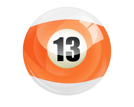 13: Billiard ball number 13 isolated on white