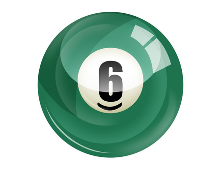 Billiard ball number 6 isolated on white photo