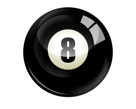 Billiard ball number 8 isolated on white photo