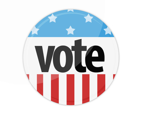United States Election Vote Button isolated on white photo