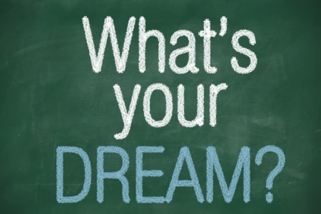 Whats your dream phrase handwritten on chalkboard by color chalk photo