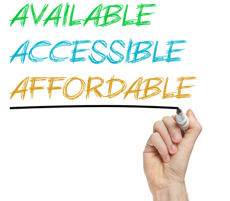 affordable: AAA for available, accessible and affordable written on whiteboard