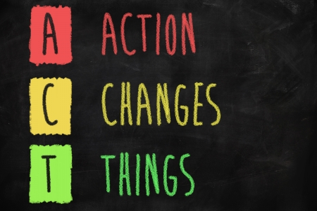 Action changes things written on a blackboard Stock Photo
