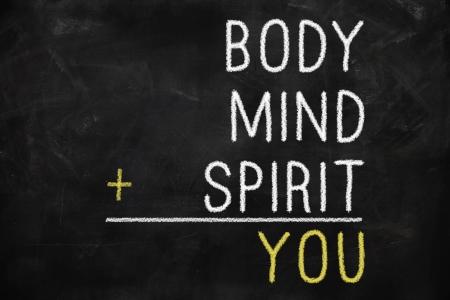 crecimiento personal: Usted, cuerpo, mente, alma, espíritu - un mapa mental para el crecimiento personal Foto de archivo