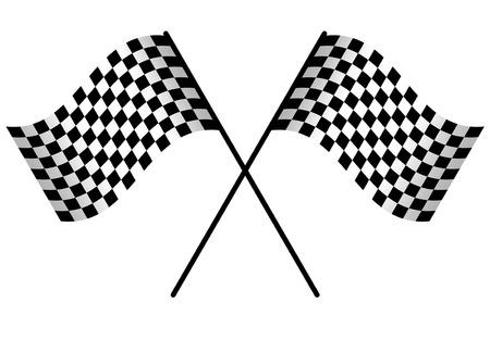 白い背景に分離された 2 つのレース旗