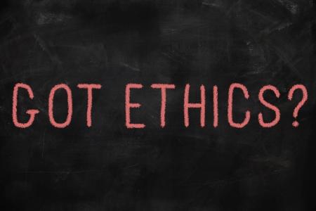 valores morales: C�digo de �tica del concepto escrito en la pizarra Foto de archivo