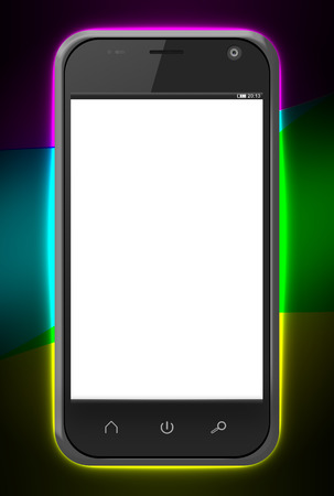Realistic smart phone with blank screen over colorful background photo