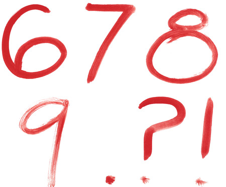 8 9: 6 7 8 9 red written isolated on white