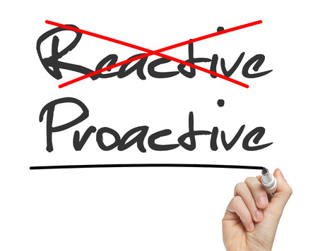 reactive: Proactive and Reactive handwritten on whiteboard isolated