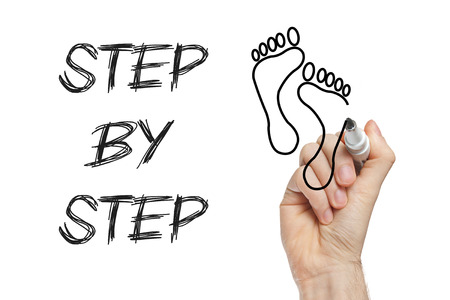 steps to success: Step by step concept drawing on whiteboard Stock Photo