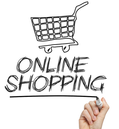 e commerce: Online shopping cart concept chalk drawing on whiteboard Stock Photo