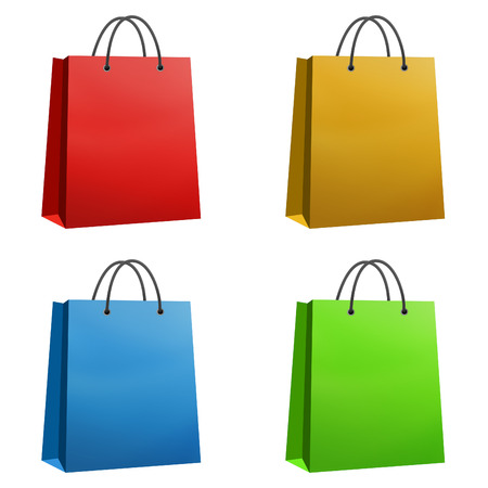 Shopping bags red orange blue and green isolated on white photo