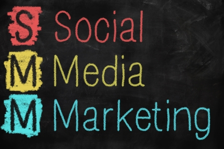 Social media marketing concept written on a blackboard photo