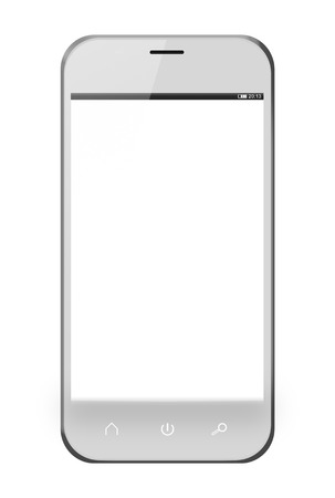 Realistic mobile phone with blank screen isolated on white background. photo