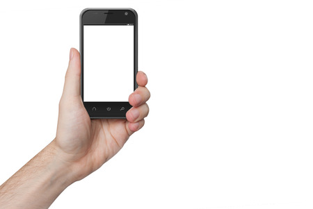 isolated male hand holding the phone with isolated screen photo