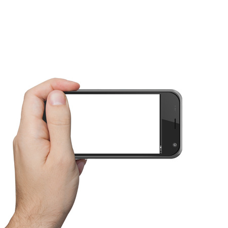 isolated male hand holding the phone tablet touch computer gadget. Stock Photo - 22944279