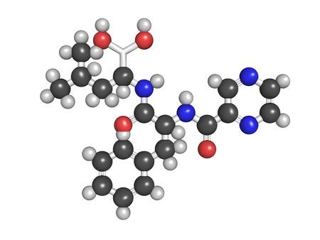 Bortezomib cancer drug (proteasome inhibitor), chemical structure.  Stock Photo - 22944297