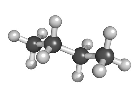 butane: Butane, molecular model. Atoms are represented as spheres in a ball and stick model