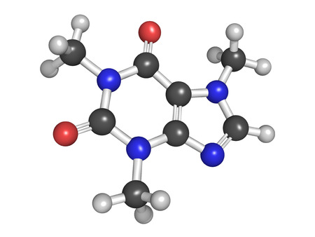 Model of caffeine, stimulant drug found in coffee and in energy drinks  Atoms are represented as spheres with conventional color coding  photo