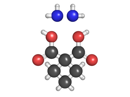 chemotherapeutic: Carboplatin cancer chemotherapy drug, chemical structure  Atoms are represented as spheres with conventional color coding Stock Photo