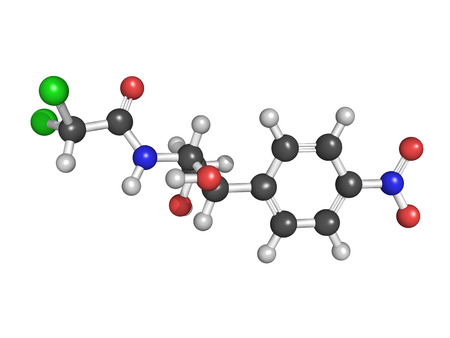 antimicrobial: Chloramphenicol antibiotic drug, chemical structure  Atoms are represented as spheres in a ball and stick model with conventional color coding Stock Photo
