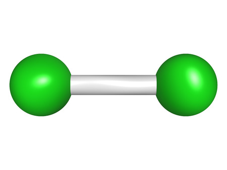 elemental: Elemental chlorine  Cl2 , molecular model  Atoms are represented as spheres with conventional color coding  chlorine  green