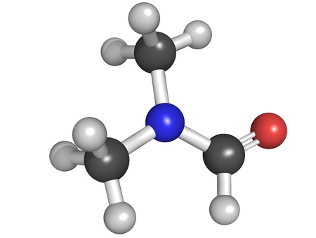 amide: dimethylformamide  DMF  molecule, chemical structure  DMF is a commonly used solvent in chemistry