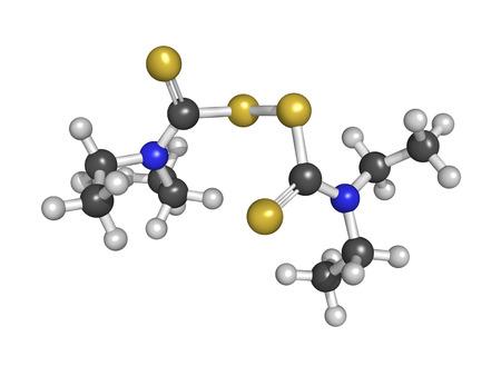 Disulfiram alcoholism treatment drug, chemical structure, isolated on white Stock Photo - 22944357