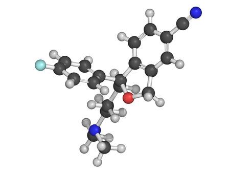 inhibitor: Escitalopram antidepressant drug  SSRI class , chemical structure, selective serotonin reuptake inhibitor Stock Photo