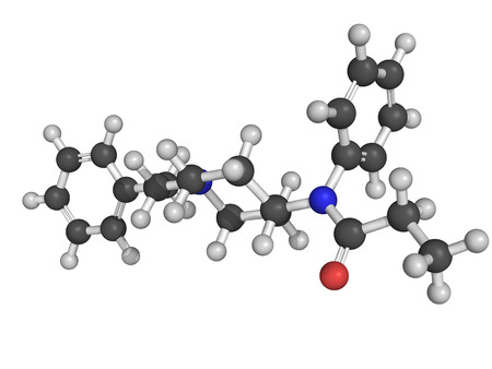 palliative: Chemical structure of fentanyl,  a potent and synthetic opioid analgesic with a rapid onset and short duration of action Stock Photo