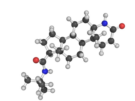 prostatic: Chemical structure of finasteride, a synthetic drug for the treatment of benign prostatic hyperplasia  BPH  and male pattern baldness  MPB