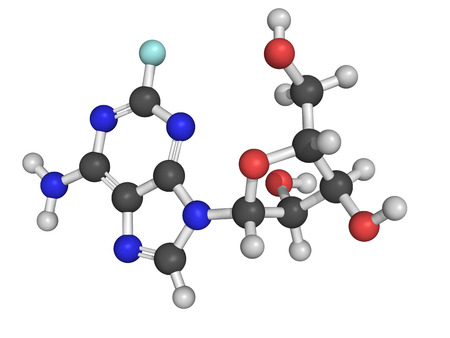 lymphoma: Chemical structure of fludarabine, a chemotherapy drug used in the treatment of cancers of blood cells like leukemia and lymphoma Stock Photo