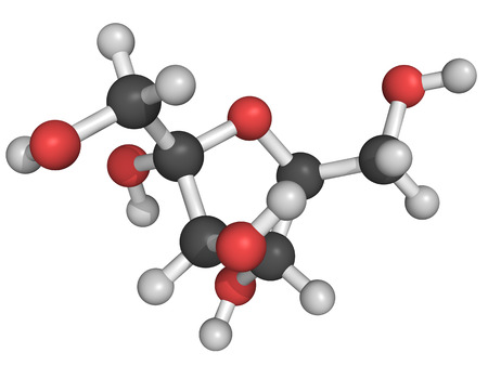 fructose: Chemical structure of fructose, a fruit sugar molecule Stock Photo