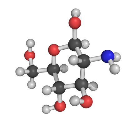 chitin: Chemical structure of glucosamine, a food supplement molecule