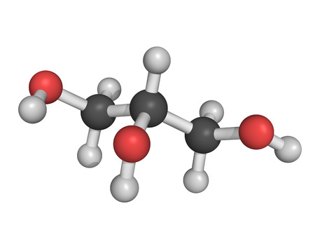 solvent: Chemical structure of a glycerol (glycerine) molecule. Along with fatty acids, glycerol forms triglycerides.