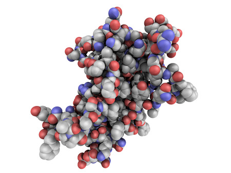 proteomics: Chemical structure of human growth hormone (hGH, Somatotropin) molecule. HGH is a natural hormone that is used both as a drug and as a doping agent.
