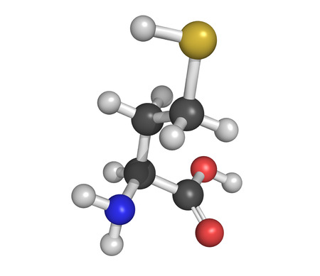 biomarker: Chemical structure of homocysteine (Hcy) amino acid. Elevated blood homocysteine levels are associated with cardiovascular disease