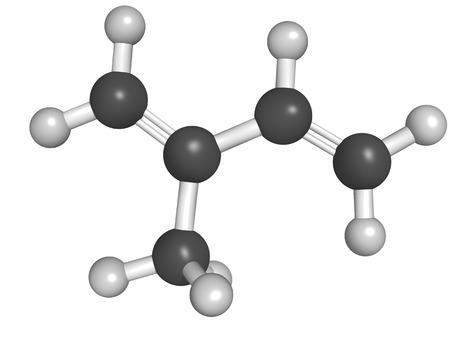 Chemical structure of isoprene, rubber (polyisoprene) building block (monomer)