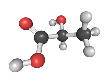 Chemical structure of a Lactic acid (milk acid, L-lactic acid) molecule