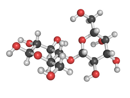 disaccharide: Chemical structure of lactose, a milk sugar molecule. Lactose is the disaccharide sugar found in milk. Stock Photo