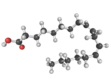 Chemical structure of an omega-6 unsaturated fatty acid (linoleic acid, LA)