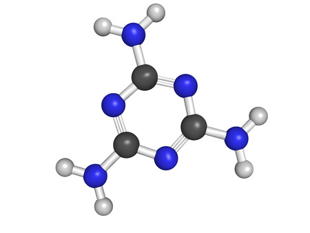 feedstock: Chemical structure of a melamine molecule. Melamine has been used for milk and feedstock adulteration.