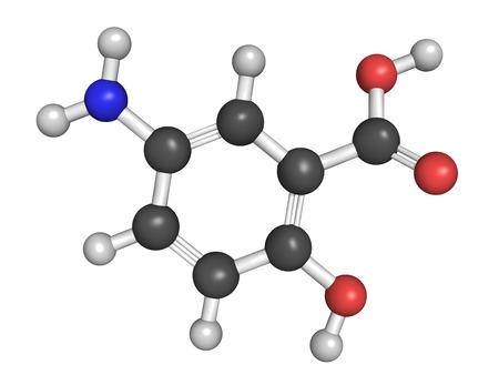 bowel disease: Estructura qu�mica de la mesalazina (mesalamina, �cido 5-aminosalic�lico, 5-ASA) enfermedad intestinal inflamatoria drogas. Se utiliza para tratar la colitis ulcerosa y la enfermedad de Crohn. Foto de archivo