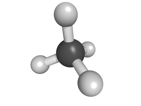 Methane (CH4) gas molecule, molecular model. Methane is the main component of natural gas. photo