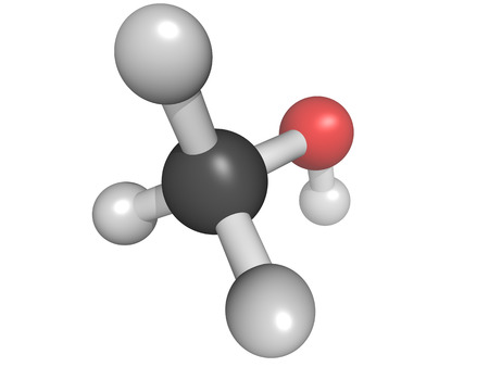 methyl: Chemical structure of a methanol (methyl alcohol, MeOH) molecule Stock Photo