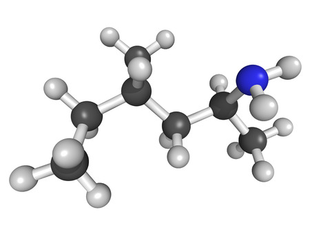 cocaine: Methylhexanamine (1,3-dimethylamylam ine, DMAA) stimulant drug, chemical structure. Atoms are represented as spheres with conventional color coding