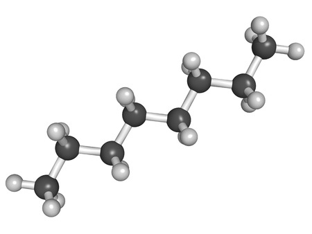 octane: Chemical structure of octane hydrocarbon isolated on white