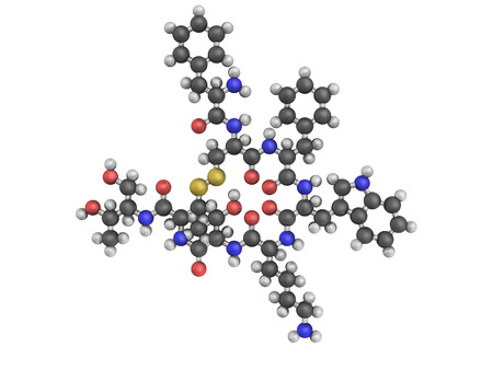 Orlistat obesity drug, chemical structure  Atoms are represented as spheres with conventional color coding Stock Photo - 22944541