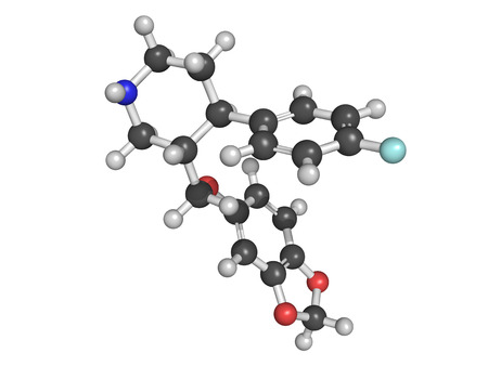 premenstrual: Chemical structure of paroxetine, an antidepressant drug of the SSRI type, used to cure major depression, ocd, panic disorder, social anxiety, ptsp, etc Stock Photo