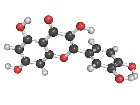 suggests: Chemical structure of a quercetin flavonoid molecule. Quercetin is a flavonoid compound found in many plants. Research suggests that quercetin can be used in antiviral therapy and inflammation treatment.